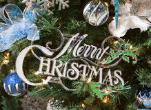 Merry Christmas Sign Tree Ornament Royalty Free Stock Photography