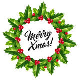 Merry Christmas sign in vector holly berry wreath with ink lettering inside  on white background. Stock Photos