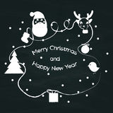 Merry Christmas sign vintage sketch style at grunge chalkboard. Royalty Free Stock Photography