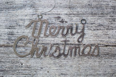 Merry christmas sign on vintage wood background Royalty Free Stock Photography