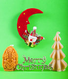 Merry christmas sign with xmas candles Royalty Free Stock Images