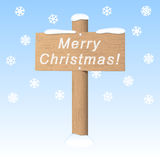 Merry Christmas signboard. Signboard Merry Christmas on the snowy background. Vector greeting card Royalty Free Stock Photography