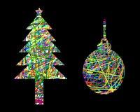 Merry Christmas, Silhouette Colorful christmas tree and christmas ball Royalty Free Stock Photography