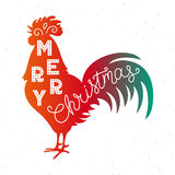 Merry Christmas 2017. Silhouette hand lettering. Chinese calendar symbol of 2017 year. Red rooster, cock. Holiday design. Art print for posters, greeting cards Royalty Free Stock Image