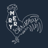 Merry Christmas 2017. Silhouette hand lettering. Chinese calendar symbol of 2017 year. Rooster, cock. Holiday design, art print. For posters, greeting cards Stock Photo
