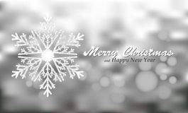 Merry Christmas silver background with snowflake Stock Photo