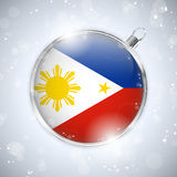 Merry Christmas Silver Ball with Flag Philippines Stock Images
