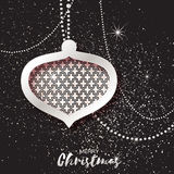 Merry Christmas Silver Glitter balls. Beautiful Decoration Bauble elements Royalty Free Stock Image