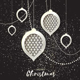 Merry Christmas Silver Glitter balls. Beautiful Decoration Bauble elements Royalty Free Stock Photography