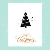 Merry Christmas simple greeting card with hand drawn Christmas tree. Vector design template with calligraphy type. Stock Images