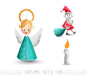 Merry Christmas sketch style elements set EPS10 file. Royalty Free Stock Photo