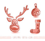 Merry Christmas sketch style elements set EPS10 file. Royalty Free Stock Photography