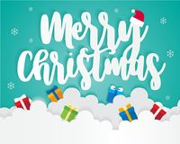 Merry Christmas On Sky with Gift Box, Greeting Card Background Illustration Paper Art Royalty Free Stock Images