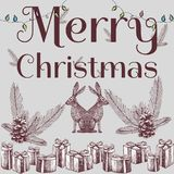 Merry christmas slogan hand drawn xmas background Stock Image