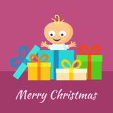 Merry Christmas and Smiling Baby with Gifts. Merry Christmas greeting card with smiling little baby and gifts in flat design style Stock Photos