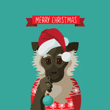 Merry Christmas smiling cartoon monkey. Holding ornament. EPS 10 vector Royalty free illustration vector illustration