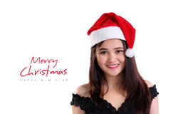 Merry Christmas with smiling girl face stock photos