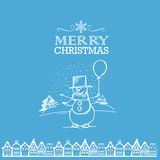 Merry Christmas from smiling snowman with the balloon Royalty Free Stock Image