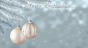 Merry Christmas snow background. Holiday snowy background decorated with spruce branch and Christmas ornaments. Vector and raster versions Royalty Free Stock Photos