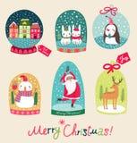 Merry Christmas snow ball set Royalty Free Stock Photos