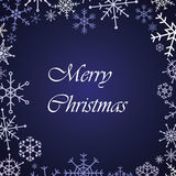 Merry christmas snow flake blue card Royalty Free Stock Image