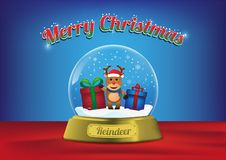 Merry Christmas globe with cute reindeer character. Merry Christmas snow globe with reindeer cute character, Vector, Illustration stock illustration