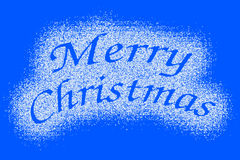 Merry Christmas snow mark on blue Royalty Free Stock Image