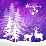 Merry Christmas Snow Winter forest and landscape with deer cople. Stock Photos