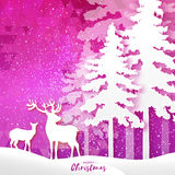 Merry Christmas Snow Winter forest, landscape with deer couple. Stock Photography