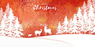 Merry Christmas Snow Winter forest and landscape with deer family Stock Photography