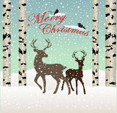 Merry christmas.Snow winter forest landscape with deers and birds, birch tree Royalty Free Stock Images