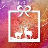 Merry Christmas Snow Winter landscape with deer cople, gift box. Royalty Free Stock Image
