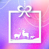 Merry Christmas Snow Winter landscape with deer family, gift box. Royalty Free Stock Photos