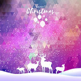 Merry Christmas Snow Winter landscape with deer family. Royalty Free Stock Image