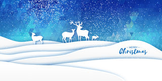 Merry Christmas Snow Winter landscape with deer family. Stock Photos