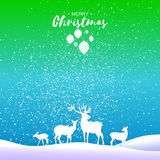 Merry Christmas Snow Winter landscape with deer family. Stock Image
