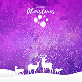 Merry Christmas Snow Winter landscape with deer family. Stock Photo