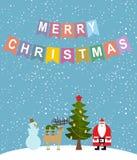 Merry Christmas. Snowfall. Christmas characters: Santa Claus and Royalty Free Stock Photography