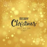 Merry Christmas with snowflake and lighting on gold background Stock Photos