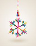 Merry Christmas snowflake multicolors hanging bauble. Christmas holiday snowflake hanging bauble rainbow colors triangles composition. EPS10 vector file Royalty Free Stock Photography
