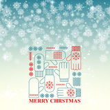 Merry Christmas snowflake retro background vector Stock Images