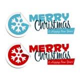 Merry Christmas Snowflake Stickers Royalty Free Stock Photos