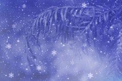 Merry Christmas. Snowflakes on blue background Stock Photos