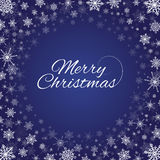 Merry Christmas snowflakes frame deep blue. Vector deep blue square background with frame of elegant gold snowflakes and script type text: Merry Christmas Royalty Free Stock Photos