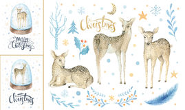 Merry christmas snowflakes and rabbits. Hand drawn bunny illustr Stock Photo
