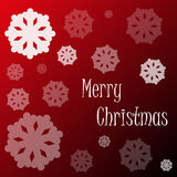 Merry christmas snowflakes on red background Stock Images
