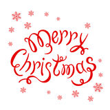 Merry Christmas and snowflakes on white background Stock Photo
