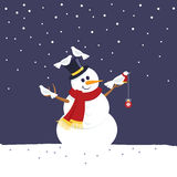 Merry christmas snowman Royalty Free Stock Image