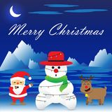 Merry Christmas - Snowman Is Bound By Christmas Lights vector illustration