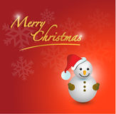 Merry christmas snowman card Stock Photography
